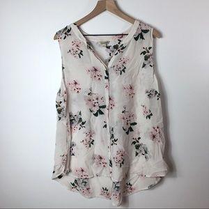 Lucky Brand Silk Sheer Floral Tank Top, 2X